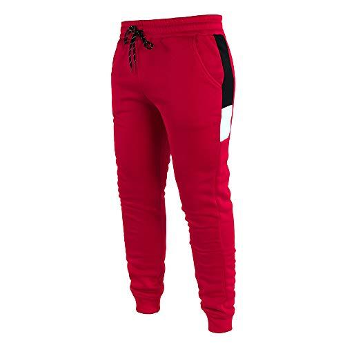 YU MENG Pantalones de chándal Largos para Hombre, Pantalones de chándal Casuales con Bolsillos y cordón elástico (Red, M)