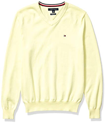 Tommy Hilfiger Men's Cotton V Neck Sweater, Wax Yellow, LG