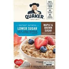 Quaker Lower Sugar Instant Oatmeal, Maple & Brown Sugar, 10 Count, (Pack of 2)
