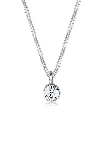 Elli Halskette Damen Basic Solitär mit Kristall in 925 Sterling Silber