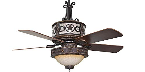 Sheridan Star Bronze Ceiling Fan - 52' Blades with Silver Mica & Light Kit