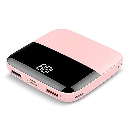 Banco De Energía del Cargador Portátil 10000Mah, 2 Puertos USB Paquete De Baterías De Teléfono Celular Externo - Pantalla De La Batería LED Y 3 Entrada - Todos Los Teléfonos Móviles,Rosado