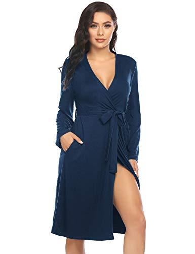 ADOME Damen Bademantel Morgenmantel Robe Saunamantel mit V Ausschnitt Lang Reisebademantel Kimono Pyjama für Herbst Winter Frauen Blau