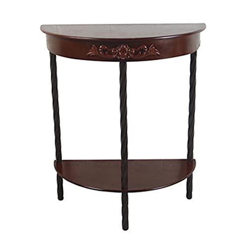 Side table-Q Mesa De Madera De La Consola, Mesa De Entrada Semicircular Mesa De Sofá De Acento Moderno Mesa Auxiliar De Almacenamiento con Estante, Estructura Estable, para Oficina(Color:C)