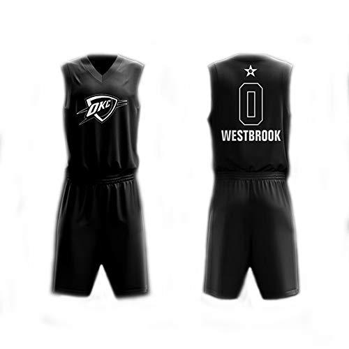 Camiseta De Baloncesto para Hombre Set Top+Shorts,Russell Westbrook # 0 NBA All Star,New Fabric Classic Sports Jersey Camiseta Sin Mangas Fans Camisas,Negro,4XL