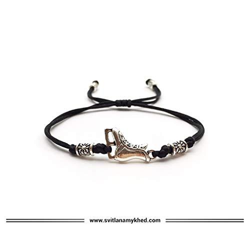 Armband SCHLITTSCHUHE. SKATER. EISKUNSTLAUF. EISHOCKEY SPORT. Satinschnur, tibetische Perlen