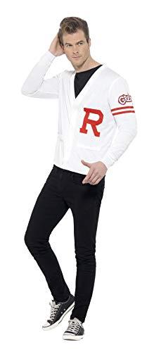 """Smiffys-42898L Licenciado Oficialmente Disfraz de Rydell Prep de Grease, con Chaleco de Punto, Color Blanco, L-Tamaño 42""""-44"""" (Smiffy'S 42898L)"""