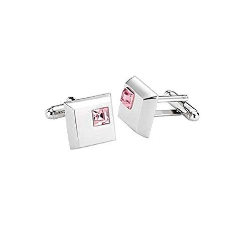 Global Accessorie Sliver & Pink Diamond Boutons de manchette avec boîte-cadeau