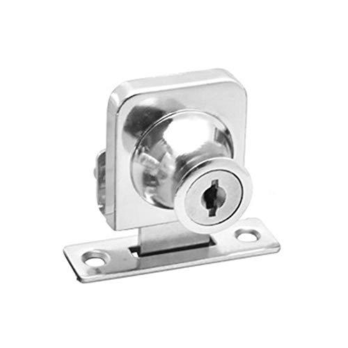 Cerradura del gabinete de la puerta del gabinete de exhibición de vidrio oscilante simple y doble de metal + 2 llaves de seguridad con herrajes decorativos para la puerta de la junta