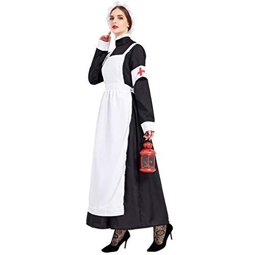 SXFJF Disfraz de Halloween para mujer, disfraz de Halloween europeo, siglo 18, monstico, noche, uniforme de enfermera, XL