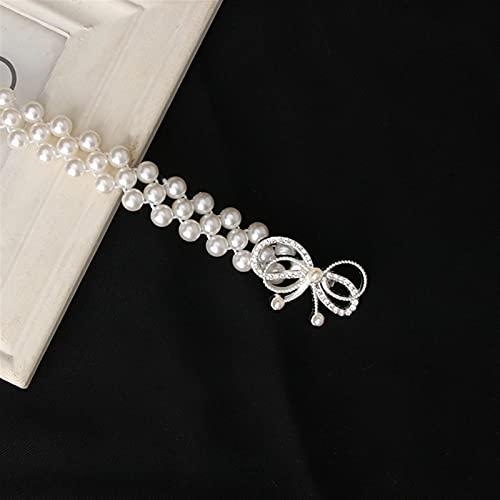 YSJJLRV Lámpara de Pared Mujeres Elegantes Cinturón de Perlas Cinturón de Cintura Cinturón Elástico Hebilla Pearl Cadena Cinturón Femenino Niñas Vestido Correa de Cristal