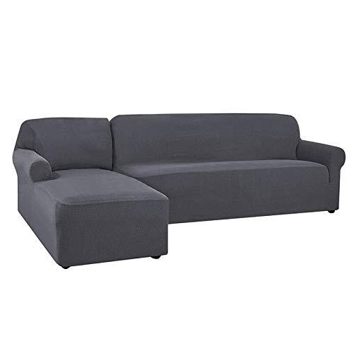 Abukjm - Copridivano per chaise longue a forma di L, in tessuto jacquard elastico, per divano ad angolo, per divano e divano, protezione per mobili (grigio, parte B-B 145-185 cm)