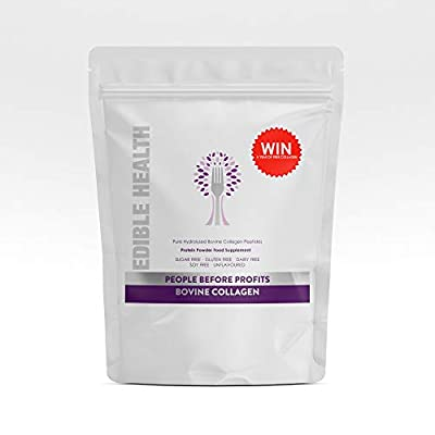 Edible Health Premium Bovine Collagen Powder. Pure Hydrolysed Protein Peptides with 18 Amino Acids. Manufactured in Europe to EU Regs. Paleo, Keto, Kosher, Halal. 13,000mg (Refill)