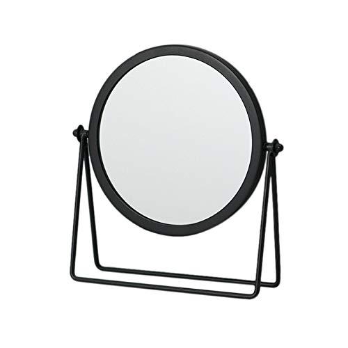 Moligh doll MéTal Miroir DéCoratif Dame Bureau Miroir de Maquillage 360 ℃ Forme Ronde Miroir de Courtoisie Miroirs RéTro-éClairéS (Noir)