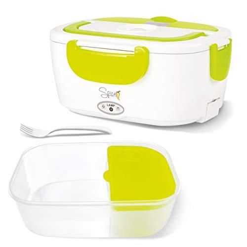 SPICE - Fiambrera eléctrica de plástico extraíble, portátil, Color Amarillo, 1,5 L, Verde ácido