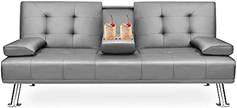 GUNJI Futon Sofa Bed Modern Faux Leather Upholstered Futon Sofa Convertible Folding Futon Couch for Living Room Home Office Couch Bed with 2 Cup Holder and Armrest (Gray)