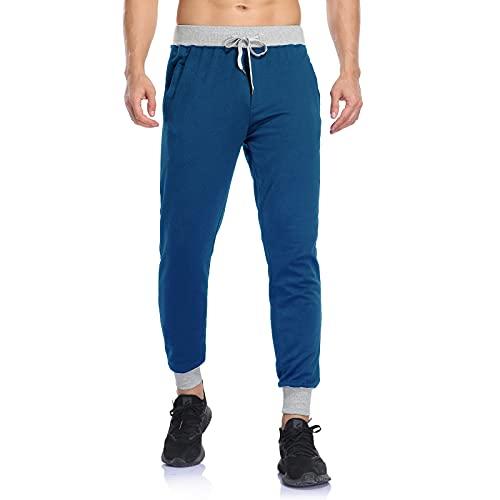 2021 Pantalones de deporte para hombre, de algodón, ligeros y suaves, cómodos, con rayas de colores, azul, M
