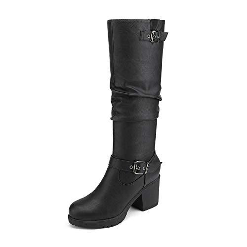 DREAM PAIRS Women's Black Chunky Heel Knee High Boots Size 7 M US Chai-1