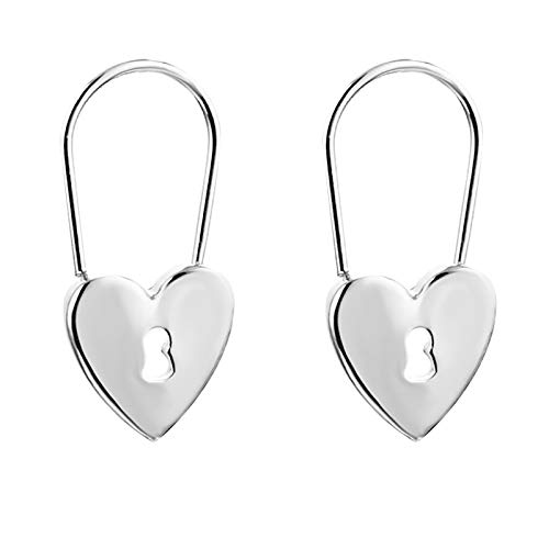HINK Men And Women Fashion Compact Mini Love Lock Pin Earrings Gold And Silver Earrings Jewelry & Watches For Woman Valentine Easter Gift