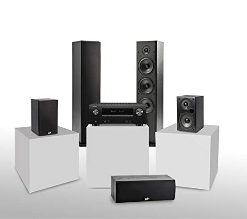 Denon AVR-X2600H 7.2-Kanal AV-Receiver (WiFi, Bluetooth, 4k, HDCP2.3, eARC, Alexa kompatibel, ohne DAB) + Polk Audio T15 Regal-Lautsprecher (Paar) + 2x Stand-Lautsprecher + Center-Lautsprecher