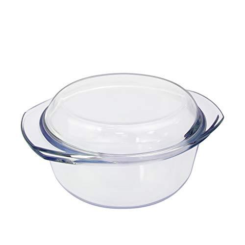 Auflaufform Glas Auflaufformen Rund mit Deckel 1.5L Glasbackform Kasserolle & Griffe Glasbräter zum Kochen Transparent Runde Glastopf zum Braten aus Hitzebeständigem Glas