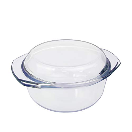 Casserole Dishes with Lid 1.5L Glass Round Casserole Dishes & Handles Baking Dish Hob to Oven Dish Clear Roaster Baking Dish Roasting Tin