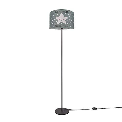 Paco Home Kinderlampe Stehlampe LED Kinderzimmer Lampe Sternen-Motiv, Deko Stehleuchte E27, Lampenfuß:Einbeinig Schwarz, Lampenschirm:Grau (Ø38 cm)