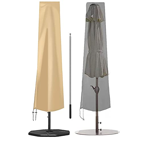 Fundas de Sombrilla de Patio a Prueba de Agua, El Parasol Al Aire Libre del Mercado del Patio de La Tela de 210D Oxford Cubre La Cubierta del Protector del Paraguas con La Cremallera,190cm