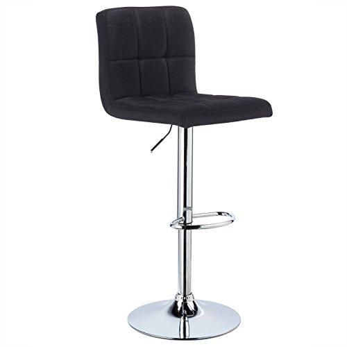 WOLTU® 1 x Barhocker Barstuhl Tresenhocker Stuhl drehbar und höhenverstellbar Tresen Hocker Leinen Schwarz BH32sz-1