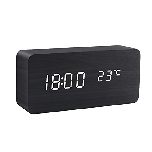 Yetier Despertador, Despertador LED Reloj de Madera Mesa Control de Voz Madera Digital accionada