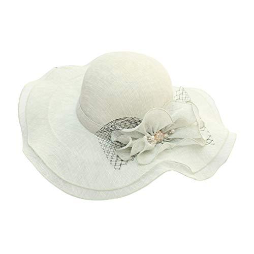 Yijinstyle Cappello da Donna per Festa da Donna Cappello a Tesa Larga per Ballo e Festa (Verde Chiaro)