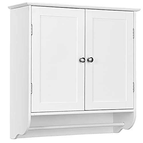 GOFLAME Bathroom Cabinet Wall Mounted, Over The Toilet Space Saver Medicine Cabinet with Double Door, Adjustable Shelf & Towel Bar, Storage Cabinet Cupboard for Bathroom, Kitchen