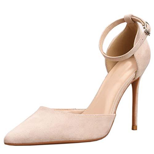 Lydee Basic Mujer Ante Pumps Stiletto Heels Oficina Dress Zapatos Dedo del Pie Puntiagudo Cocktail Heels Evening Fiesta Zapatos Nude Size 32