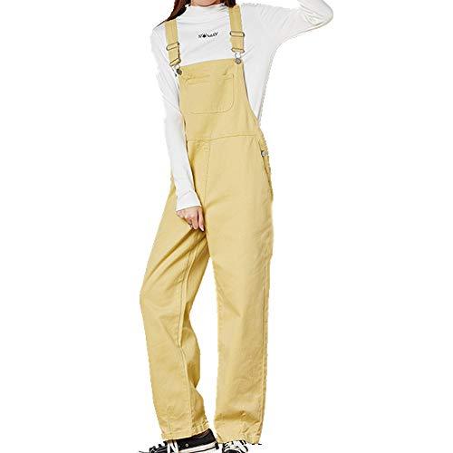 N\P Pantalones vaqueros de invierno para mujer, estilo suelto, reducción de la edad, pantalones rectos de una sola pieza amarillo M