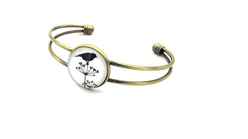 Vogel Motiv Cabochon Armreif Bronze-Farben Modeschmuck Damen