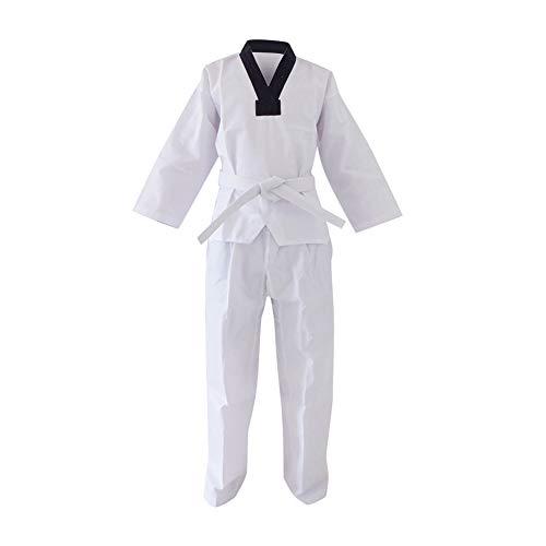 Gtagain Niño Adulto Taekwondo Kimono - Kung Fu Karate Traje Dobok Uniforme Hombre Sudadera Ropa Arte Marcial Entrenamiento Cuello En V Cinturón Blanco Algodón/Poliéster Manga Larga/Manga Corta
