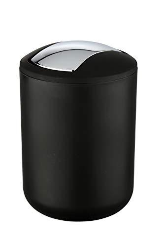 WENKO Kosmetikeimer Brasil Schwarz S - Kosmetikeimer, absolut bruchsicher Fassungsvermögen: 2 l, Kunststoff (TPE), 14 x 21 x 14 cm, Schwarz