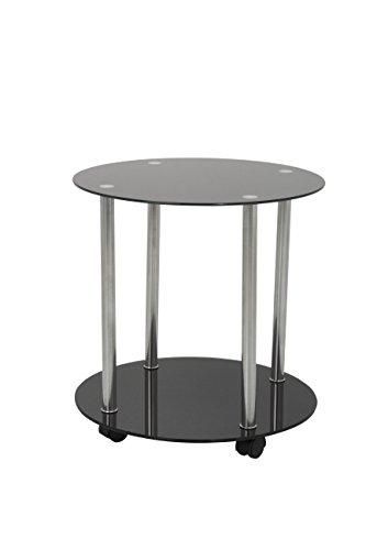 Fav T62-A cristal negro y cromado de dos niveles redondo con ruedas de lado // Fin o lámpara de mesa