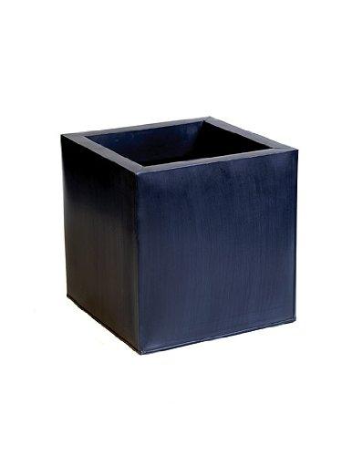 Cache-Pots Cubes en Zinc Galvanisé – Noir – Grand – 40 cm