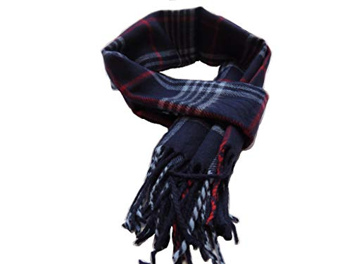 LEGADO Bufanda a cuadros suave bufanda de poliester estilo de cuadro de invierno bufanda caliente para los hombres y los niños de color facilmente combinable. (AZUL)