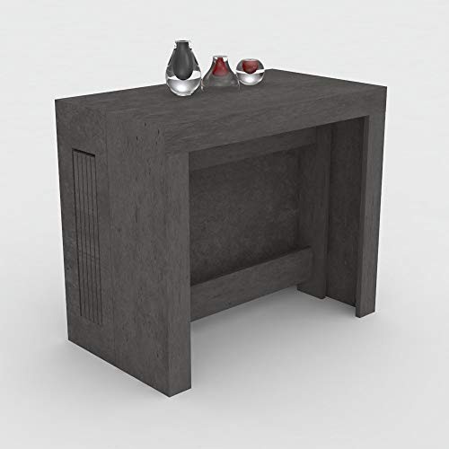 VE.CA.s.r.l. Tavolo consolle allungabile Karen con Porta allunghe in Legno - allungabile da 51,5 cm 300 cm, in 5 colorazioni - arredo Cucina casa Design (Petrolio)