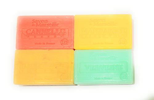 1802 Le Chatelard - Lot de 4 savons enrichis à l'huile d'amande douce. 4x100gr. Verveine, Mandarine citron vert, Fleur d'oranger thé vert et Cannelle orange.