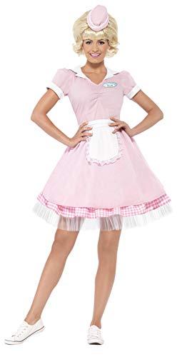 Smiffys-43183M Disfraz de Camarera de Diner de los años 50, con Vestido y minisombrero, Color Rosado, M-EU Tamaño 40-42 (Smiffy