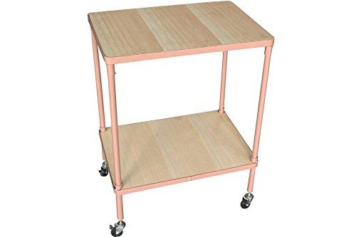 ANNA & CLARAS Rolltisch mit 2 Ablageböden rosa 65 x 50 x 35 cm eckig