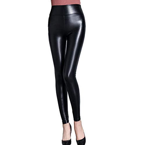 KRILY Sexy Glanzende Natte Look & Mat Volledige Lengte Leggings Hoge Taille Latex Imitatie Lederen Fitness Broek Maat S-3XL