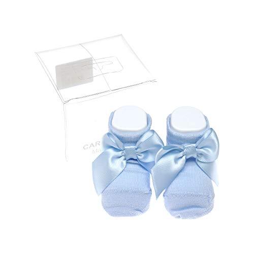 Carlomagno - Calcetín para bottons (1 par), costuras planas con lazo, de algodón, patuco con lazo recien nacido azul 0 mese