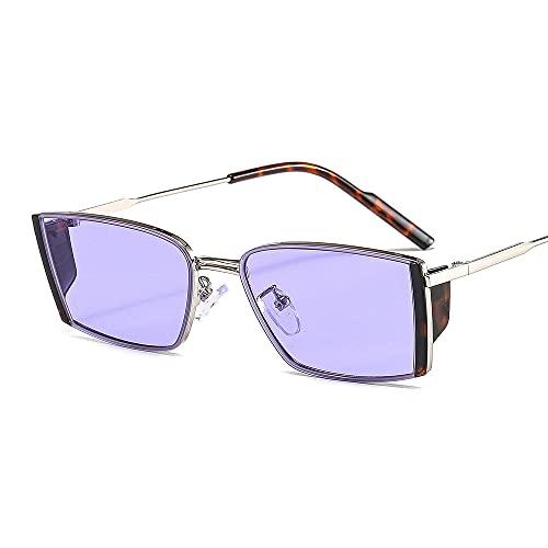 QWKLNRA Gafas De Sol para Hombre Montura De Color Plateado Lente Azul Púrpura Rectángulo De Moda Gafas De Sol Deportivas Polarizadas Gafas De Mujer Hombres Gafas De Sol con Montura Cuadrada Peque