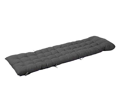 Cojín de repuesto para tumbona de jardín, con lazos de fijación, almohadillas para bancos para viajes de vacaciones, antideslizante, cómodo algodón, duradero, ligero, negro, 48 x 170 cm