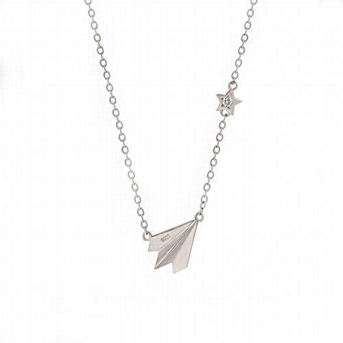 Katylen S925 Sterling Silber Papier Flugzeug Halskette Einfache Mode Weibliche Schlüsselbein Kette Kindliche Persönlichkeit Wilden Schmuck, Papierflieger Halskette