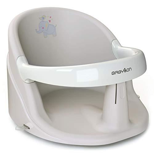BABYLON Anatomischer Baby Badewannensitz Nemo. Badesitz Baby mit Anti-Rutsch Saugnäpfe von 6 Monaten. Badewannen Zubehör für Mädchen und Jungen, Babywanneneinsatz Grau